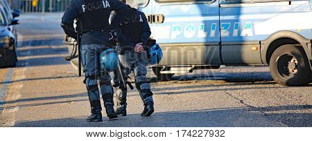 Italian Cops With Armored Car During An Anti-terrorism Control