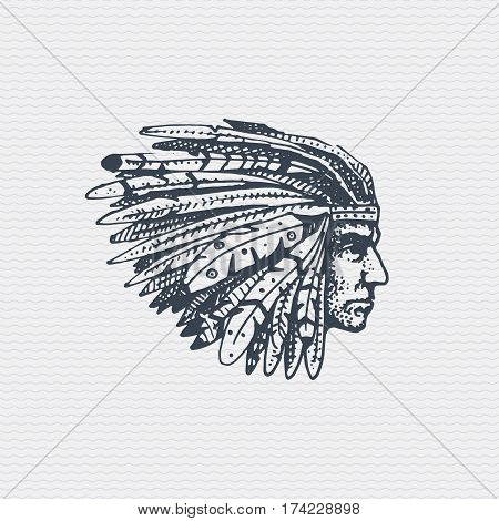 vintage old logo or badge, label engraved and old hand drawn style with indian face, native american with feathers in hair.