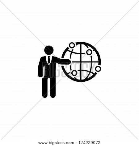 Global Business Icon. Business Concept. Flat Design. Isolated Illustration.