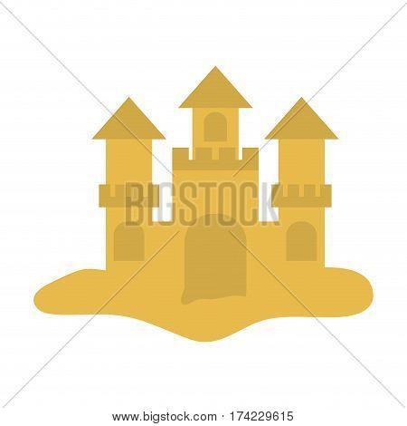 sandcastle icon over white background. colorful design. vector illustration
