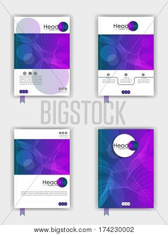 Book cover design set. Good for publications journals banners flyer portfolio monographs and magazines. Vector. A4.