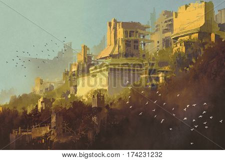 abandoned buildings in futuristic city at sunset, sci-fi scenery illustration painting
