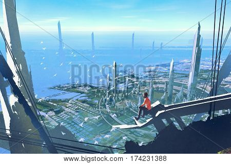 aerial view with the man sitting on edge of building looking at futuristic city, illustration painting