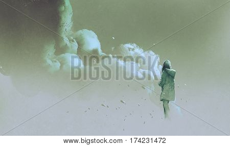alone woman standing in front of smoke, illustration painting