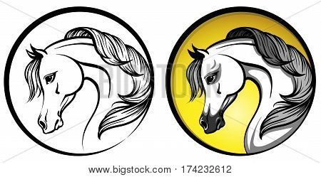 Arabian horse head in a circle - outline and on a yellow background