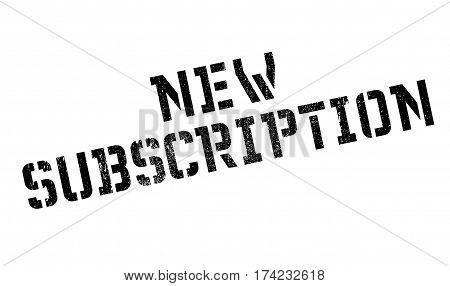 New Subscription rubber stamp. Grunge design with dust scratches. Effects can be easily removed for a clean, crisp look. Color is easily changed.