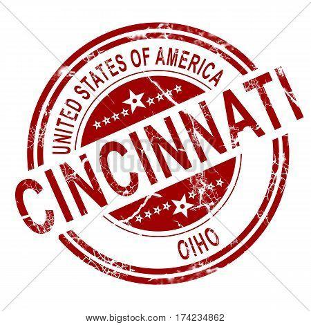 Cincinnati Ohio Stamp With White Background
