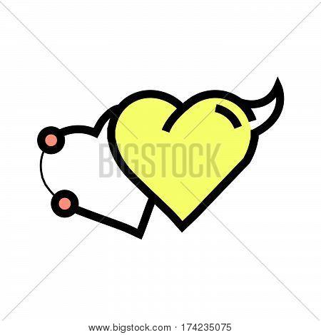 Love Heart Devil Pen Tool Style Yellow
