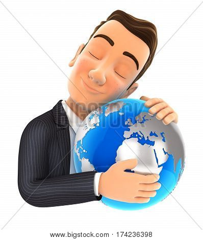 3d businessman hugging the earth illustration with isolated white background