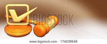 Check Mark Legal Gavel Concept 3D Illustration