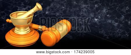 Mortar And Pestle Legal Gavel Concept 3D Illustration