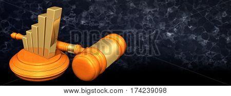 Bar Graph  Legal Gavel Concept 3D Illustration