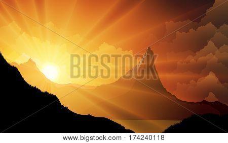 Vector illustration of Mountain landscape at sunset