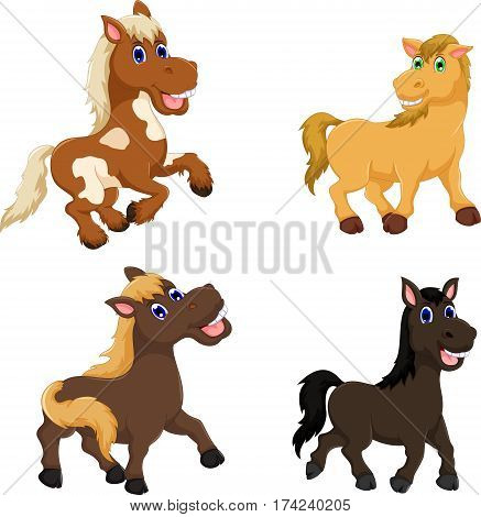 collection of cute horse cartoon for you design