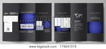 Tri-fold brochure business templates on both sides. Easy editable abstract vector layout in flat design. Shiny fabric, rippled texture, white and blue color silk, colorful vintage style background