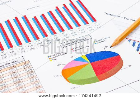 Pencil on sales by category and sales report document.