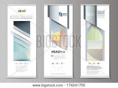 Set of roll up banner stands, flat design templates, abstract geometric style, modern business concept, corporate vertical vector flyers, flag layouts. Minimalistic design with lines, geometric shapes forming beautiful background.