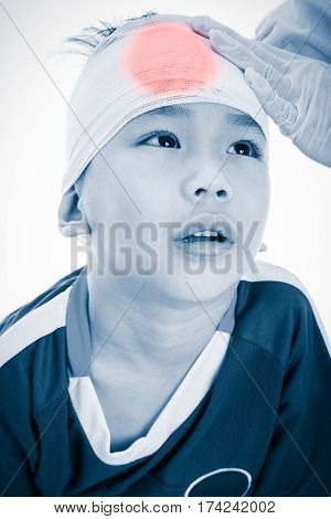 Athlete Asian Boy With Trauma Of The Head. On White Background.