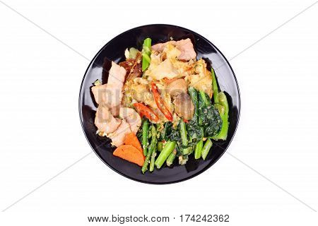 Fried Big Noodle Topped Mixed Vegetables For Organic Food.