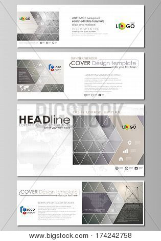 Social media and email headers set, modern banners. Business templates. Easy editable abstract design template, vector layouts in popular sizes. Chemistry pattern, molecule structure on gray background. Science and technology concept.