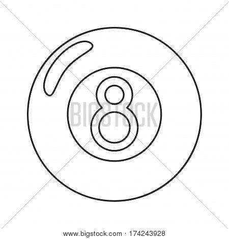 billiard ball  eight thin line vector illustration eps 10