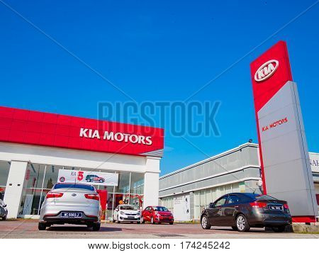 Auto City, Penang, Malaysia - January 29, 2017: Office of official dealer KIA Motors. Kia Motors is South Korea's second-largest automobile manufacturer