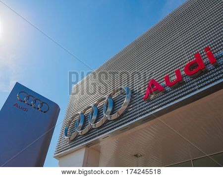 Auto City, Penang, Malaysia - January 29, 2017: AUDI logo at showroom and Office of official dealer. Audi is a German automobile manufacturer that designs luxury vehicles in Bavaria