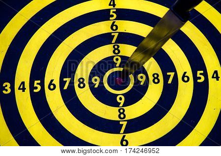 knife on target dart board to goal, business concept to goal copy space background