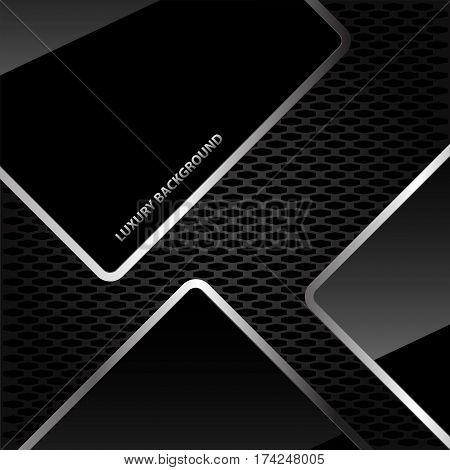 Abstract black glossy silver line on honeycomb mesh luxury background design vector illustration.