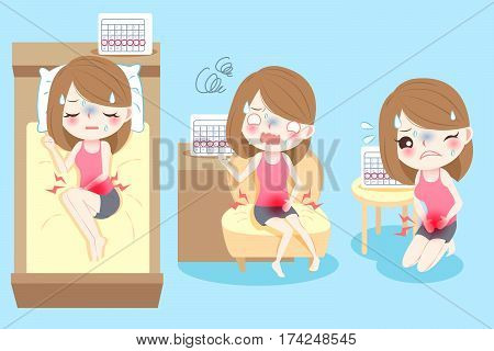 cute cartoon woman feel uncomfortable with menstruation poster