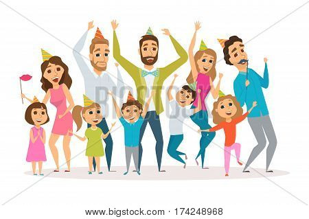 Big family birthday party. Kids and parents celebrate. Mothers, fathers and child in hat dancing and laughing together. Group of happy people have fun. Cartoon characters isolated on white