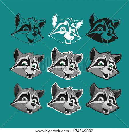 Cute raccoon in different styles. Set of icons, stickers. Head raccoon. Vector illustration.