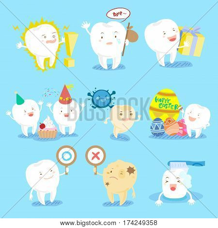 cite cartoon tooth do different emotions with blue background