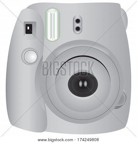 Mini Camera Instant built-in flash. Vector illustration.