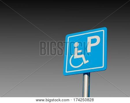 Disabled parking space and wheelchair way sign and symbols on a pole warning motorists isolate on gradient Black and white background
