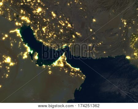 Persian Gulf At Night On Planet Earth