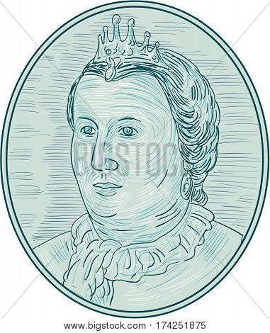 Drawing sketch style illustration of an 18th century European empress bust with crown looking to the side viewed from front set inside oval shape.
