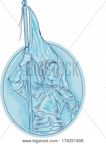 Drawing sketch style illustration of Joan of Arc the Maid of Orleans a heroine of France for her role during the Lancastrian phase of the Hundred Years' War holding flag looking to the side viewed from front set inside oval shape.