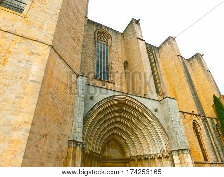 The fragment of Girona Cathedral in Catalonia, Spain, Romanesque, Gothic and Baroque architecture, city landmark