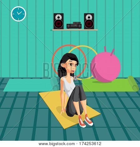 Young woman doing exercises to build abdominal muscles. The girl in a sports suit is engaged in activities in the gym. Flat cartoon vector illustration