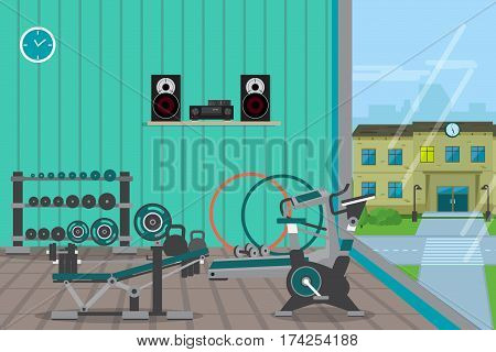 Gym interior training with bodybuilding healthy and active lifestyle fitness equipment. Flat cartoon vector illustration