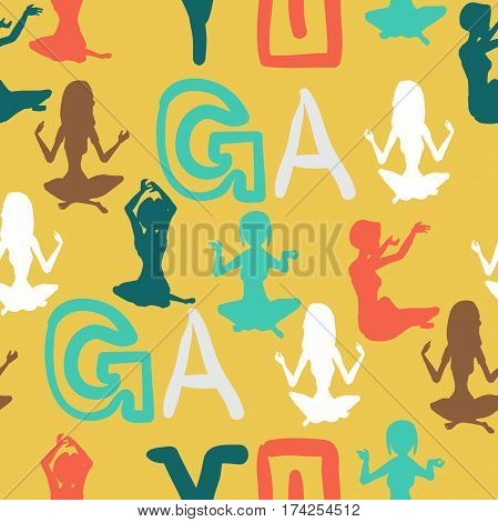 Seamless textile pattern of the silhouettes women involved in fitness yoga. Vector flat cartoon background