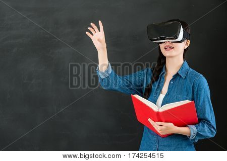 Asian Woman Student Touch Screen With Vr Headset