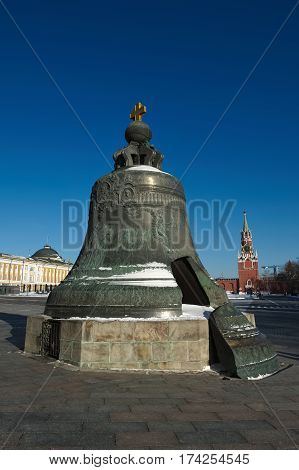 Tsar Bell in the Moscow Kremlin is cast in the cannon yard in 1733-1735 a monument to the art of casting Russia height of 6.24 meters weight 202 tons