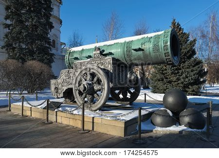 Tsar Cannon a monument to the medieval Russian artillery cast in 1586 gun weight 39.31 tons