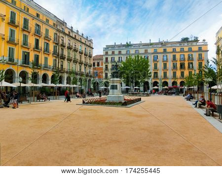 Pals, Girona, Spain - September 5, 2015: Independence Square Plaza de la Independencia in the old town of Girona, Spain