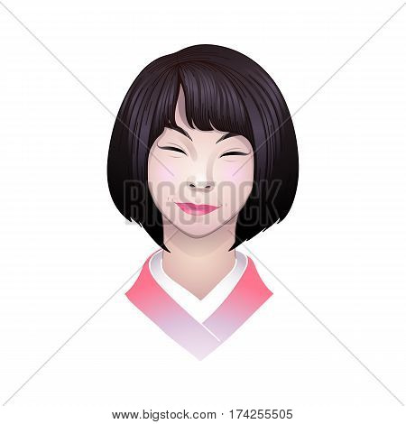 Portret of cute smiling asian girl isolated on white background