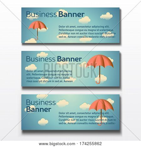 Set of three horizontal business banners templates