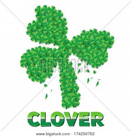 Shamrock or clover leaf made of scattered leaves