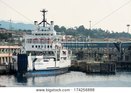 Messina Italy - December 30 2015: Ferryboat with many tourists and cars on board. This ship connecting Calabria and Sicily on Strait of Messina waiting of the bridge